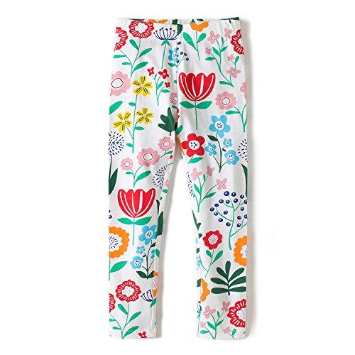 Hongshilian Girls Cotton Cartoon Ankle Length Basic Leggings(Flowers & White,2-3Yrs) -