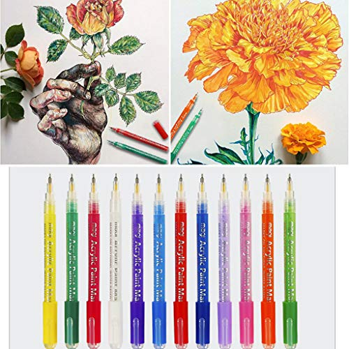 Shan_s 12 Pcs Marker Painting Pens,Acrylic Paint Pen Permanent Paint pens for Rock Painting, Stone, Ceramic, Glass, Wood.