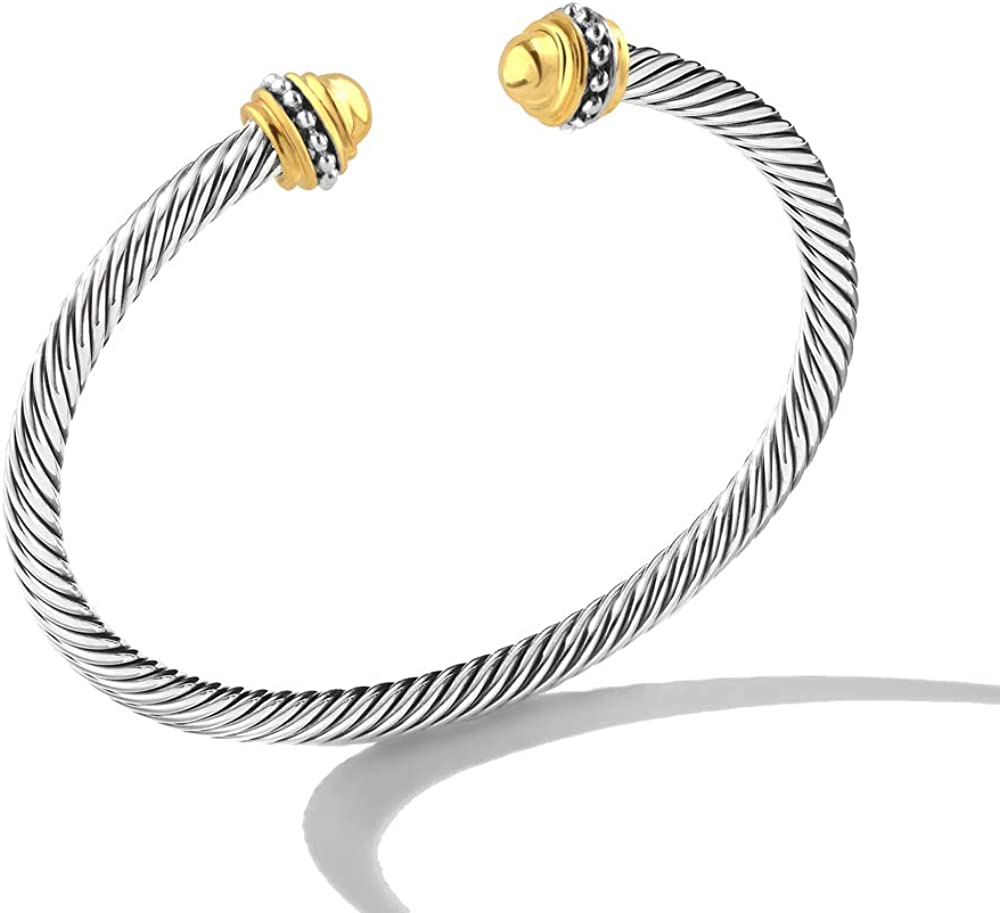 Mytys Cable Wire Cuff Bangles, Retro Antique Gold Cable Bracelet Bangle for Women