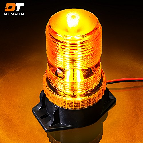 5-1/4' by 2-1/4' 15-Watt Amber Emergency Strobe Beacon Light w/ 30-LEDs, Permanent Mount, Simple Install - Vehicle Warning Flashing Rotating Roof Safety Hazard Light for Forklift, Golf Cart, Security