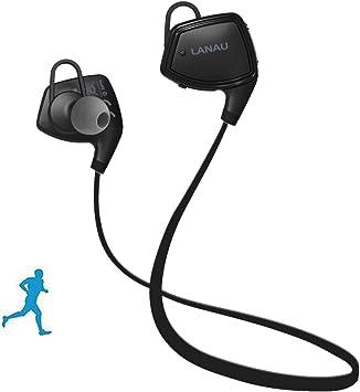 Lanau Bluetooth 4.1 sport auricular Bluetooth inalambrico de auriculares con micrófono Stereo In - Ear cuello resistente al sudor para iOS, Android, iPad, smartphone, etc. (SH33 negro): Amazon.es: Electrónica