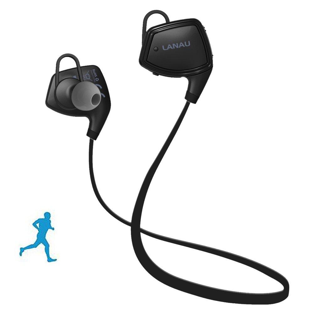Lanau Bluetooth 4.1 sport auricular Bluetooth inalambrico de auriculares con micrófono Stereo In - Ear cuello resistente al sudor para iOS, Android, iPad, ...