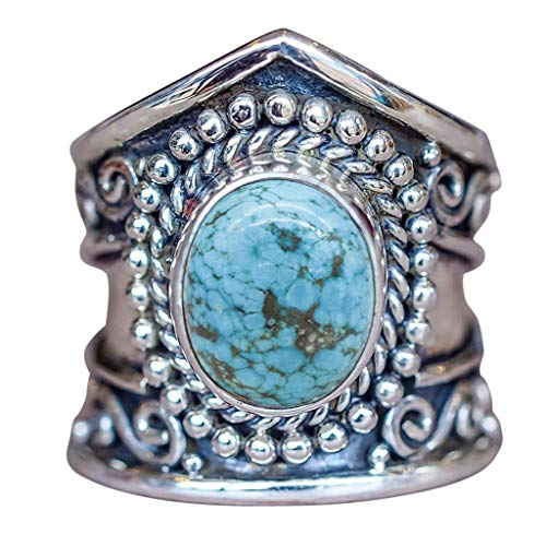 (Aunimeifly Ladies Boho Silver Natural Gemstone Marquise Moonstone Personalized Ring Engagement Jewelry)