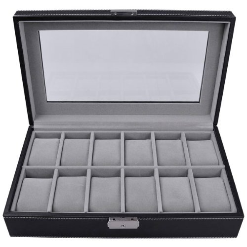 Black Leather Glass Top 12 Mens Classic Watch Display Organizer Case Jewelry Box