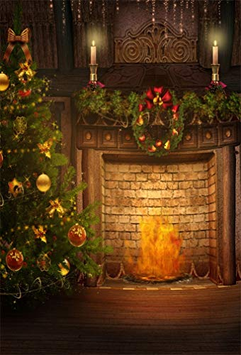 DaShan 5x7ft Photography Backdrop Christmas Wreaths candlesticks Christmas Tree Fireplace Indoor Photo Background Backdrops Photography Photo Shoot Party Kids Personal Portrait Photo Studio Props