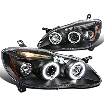Spec D Tuning 2LHP COR03JM TM Toyota Corolla Black Led Projector Halo Head