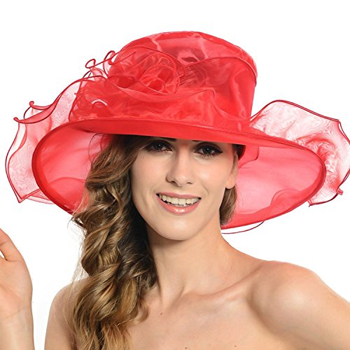 Women's Sheer Wide Brim Sun Party Church Wedding Floral Organza Hat(red)