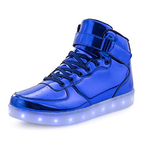 AFFINEST Kinderschuhe High Top LED Aufladen Schuhe Blinken Fashion Sneakers For Boys Girls Halloween Weihnachten PU-blau