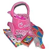Plush Pink Cowgirl Hat Easter Basket Filled with a Western Theme Paddle Ball, Cards, Badge, Jump Rope, Pencil, Stickers and Erasers