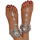 Holylove Foot Jewelry for Women Barefoot Sandals Beach Big Foot Size White Anklets Chains Wedding Vocation 1 Pair with Gift Box– AB032