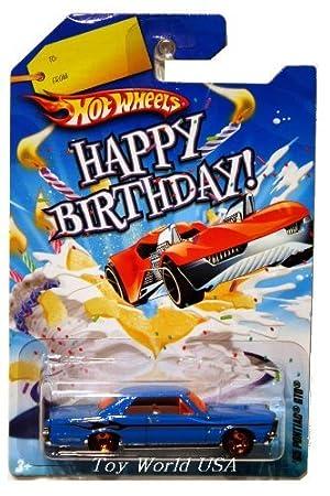 Hot Wheels Happy Birthday Cars 65 Pontiac Gto Blue W Orange Windows