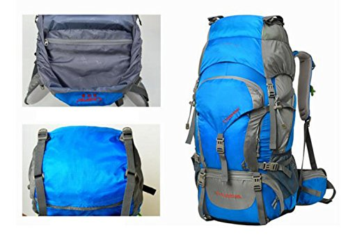 Hombres Profesional Viaje Mochila Multifuncional Resistente Al Agua 60L,Blue-OneSize Blue