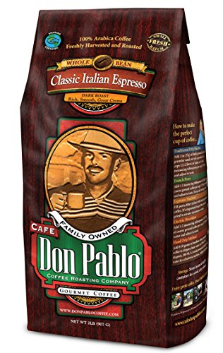 Cafe Don Pablo Connoisseur Coffee - Classic Italian Espresso - Dark Roast - Whole Bean Coffee - 2 Pound Bag