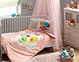100% Organic Cotton Soft and Healthy Baby Crib Bed Duvet Cover Set 4 Pieces, Licensed Baby Bedding Set