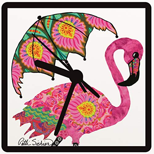 Handcrafted Parasol - Flamingo Clock, Flamingo Gifts, Flamingo with a Parasol, From Original Art, 2 Sizes Available, Desk Clock, Wall Clock, Includes Stand