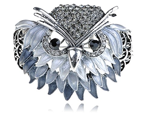 Alilang Womens Silvery Tone Ombre Grey Wise Owl Bird Face Head Bangle Bracelet