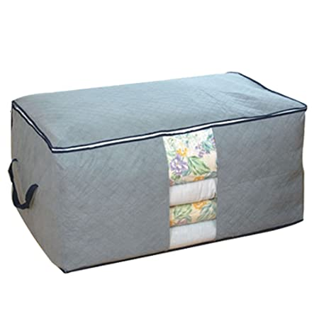 Large Bamboo Fabric Foldable Quilts Storage Box Blanket Clothing Pouch Bag Organizers Winter Spring And Summer Storage Alternative Ideas Items Grey