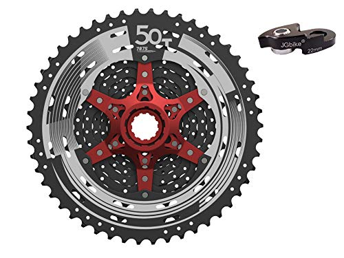 JGbike Sunrace 11 Speed Cassette 11-50T CSMX80 Black Wide Ratio MTB Cassette for Mountain Bike Including Extender for Shimano M7000 M8000 - Intense Cycles Spider