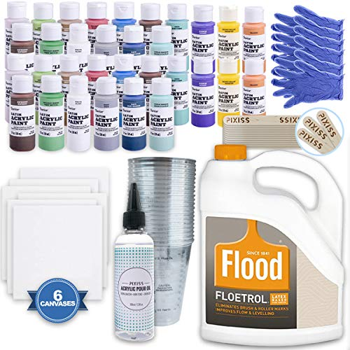 (Ultimate Acrylic Paint Pouring Bundle - 1 Gallon Floetrol, 50x Cups, 32x 2-Ounce Acrylic Paints, 5X5-inch Canvases, Pixiss Acrylic Pouring Oil, Mixing Sticks, Gloves, Complete Kit for Paint Pouring)