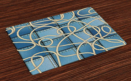 Ambesonne Nautical Place Mats Set of 4, Various Patches of Denim in Sea with Sailor Knot Rope on Foreground Image Art Print, Washable Fabric Placemats for Dining Room Kitchen Table Decor, Blue