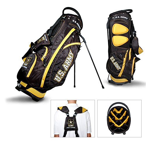 Team Golf Military Army Fairway Golf Stand Bag, Lightweight, 14-Way Top, Spring Action Stand, Insulated Cooler Pocket, Padded Strap, Umbrella Holder & Removable Rain Hood ()