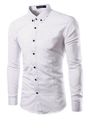 Mada Mens Casual Shirts Long Sleeve Slim Fit Dress Shirt, Dot&white, Asian XX-Large/US Large (Period Dress)