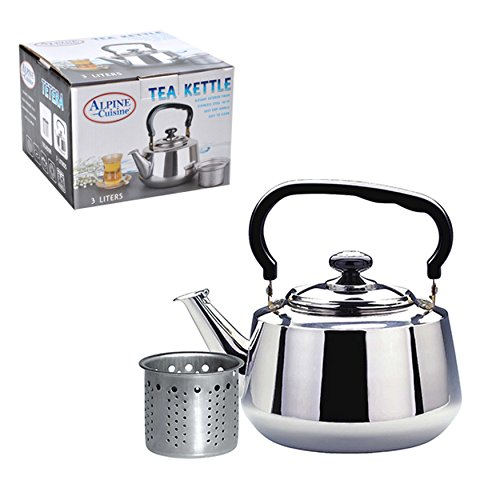 Polished Chrome Green Tea - Aramco WLA020 Alpine Cuisine Tea Kettle & Strainer, 3 L, Stainless Steel
