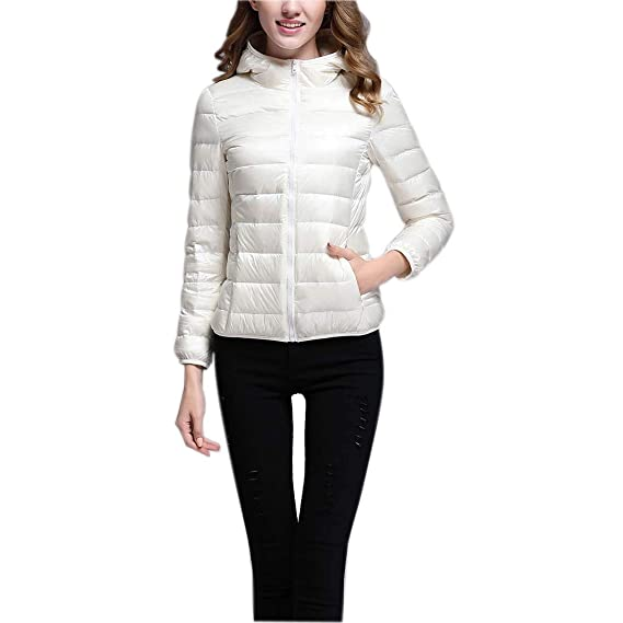 CX-Store Mujeres Ultraligeras Packable Short Down Puffer ...