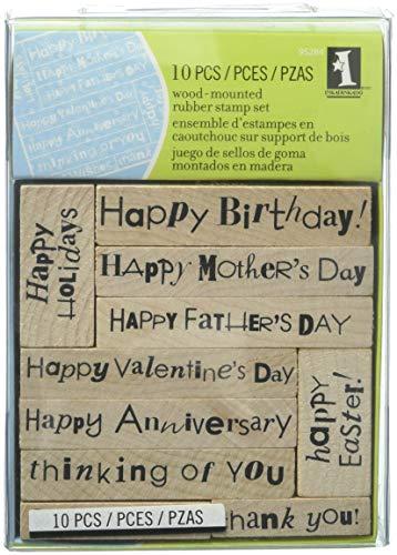 Inkadinkado Celebration Wood Stamp Set for Decorating Cards, 10pc ()