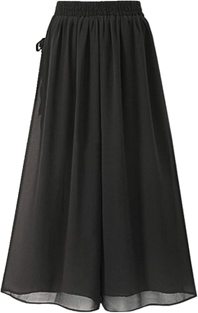 Verano Estilo Europeo Más El Tamaño De Las Mujeres Pantalones Casual Sueltos De Gasa De La Caldera-Longitud De Pantalones Negro De La Pierna Ancho De