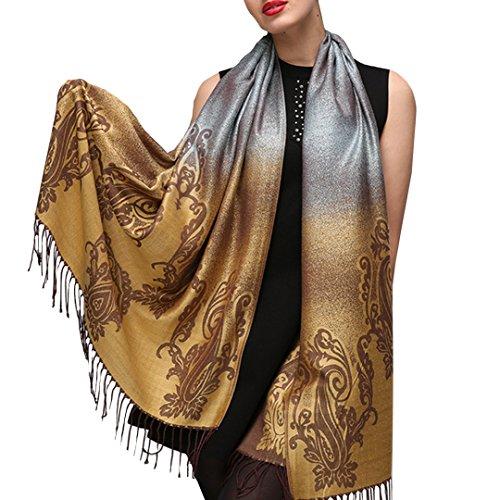 Kennedy Multi-use Women Fashion Gradient Color Scarf Cotton Tassels Edge Shawl(yellow)