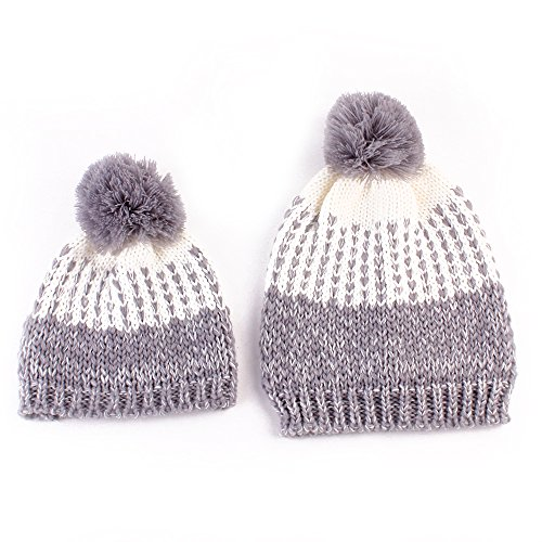 Price comparison product image Xife Mother and Child Warm Hat Winter Knitting Wool Hat Cup (Gray)