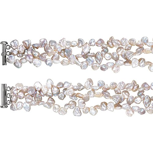 - Sterling Silver Freshwater Cultured Keshi Pearl 7.5