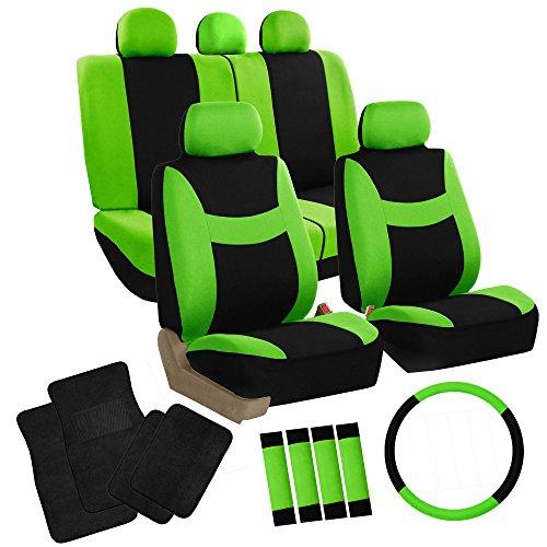 - FH Group FH-FB030115 Combo Set: Light & Breezy Cloth Seat Cover Set Airbag & Split Ready W. FH2033 + F14403BLACK Carpet Floor Mats, Green/Black- Fit Most Car, Truck, SUV, or Van