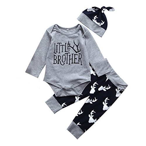 3PCS Newborn Baby Boys Cute Little Brother Romper+Pants+Hat Outfits Matching Set (0-6 Months, Little Brother) - Matching Toddler Outfits
