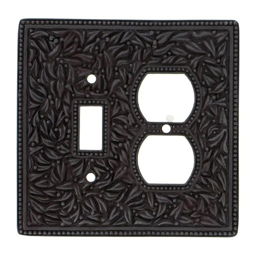 Vicenza Designs WPJ7000 San Michele Wall Plate with Jumbo Outlet and Toggle Opening, Oil-Rubbed Bronze by Vicenza Designs
