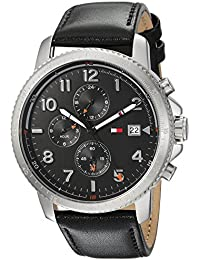 Men's Sport' Quartz Stainless Steel and Leather Casual...