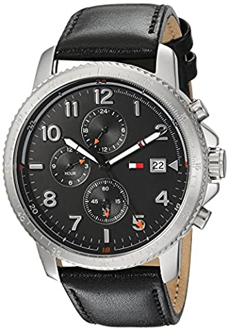 Tommy Hilfiger Men's 'Sport' Quartz Stainless Steel and Leather Casual Watch, Color:Black (Model: (G Shock Gloss)