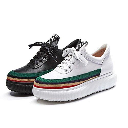 KJJDE White Proceso Retro Mujeres con Zapatos Tejido de Sujeción de Correa A2706 WSXY Plataforma gOrgqwY