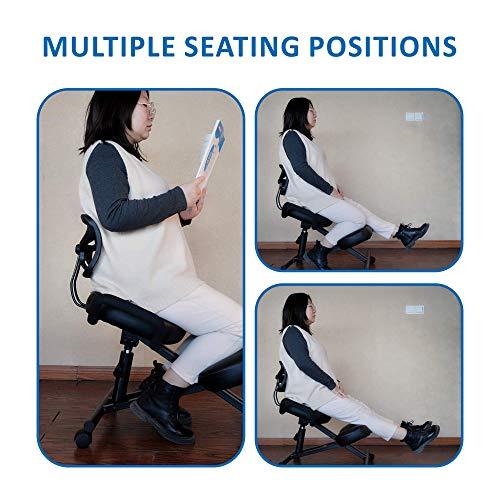 Silla ergonómica para arrodillarse con respaldo. Taburete ajustable para una mejor postura en el hogar y la oficina. Aliviar el dolor de espalda, el dolor de cuello y la tensión de la columna vertebral - Cojines gruesos y cómodos, color negro