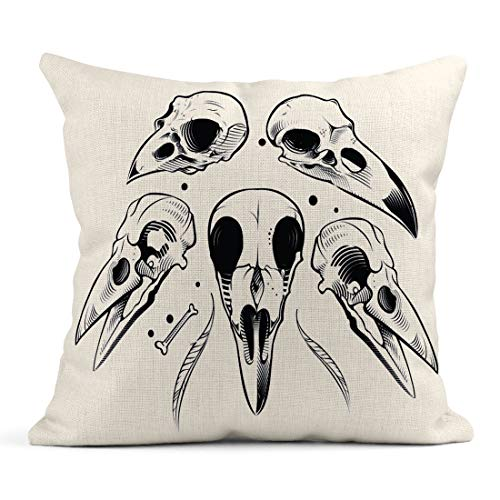 Emvency Decor Flax Throw Pillow Covers Case Bird Crow Skull Raven Vulture Goth Skeleton Vintage Engraving Tattoo 18