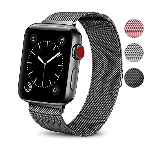 BAITEYOU Compatible Watch Bands 38mm 42mm Women Men Compatible Magnetic Strap Milanese Loop Series 3 2 1 Compatible Apple Watch Strap Mesh Steel Replacement Rose Gold Silver Black