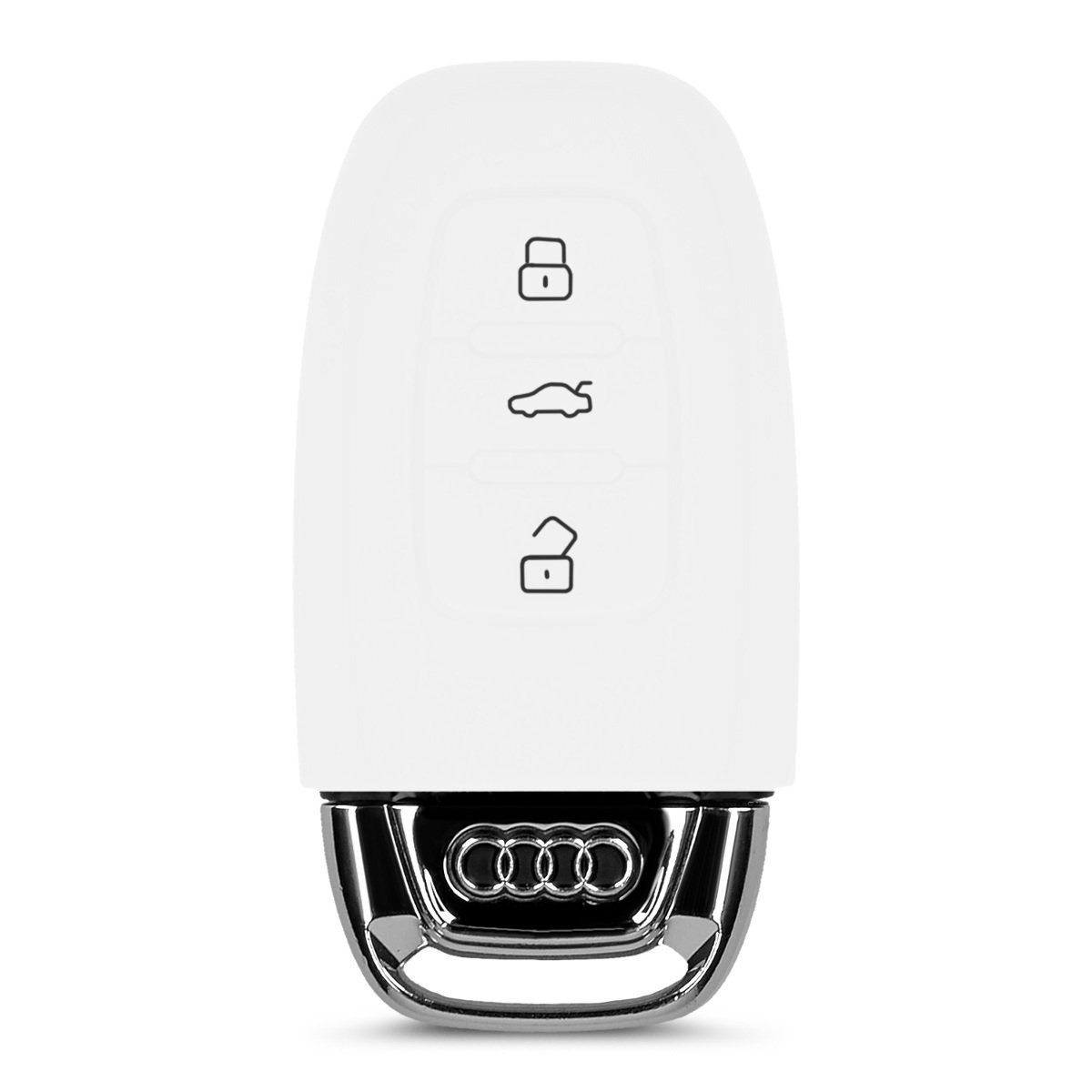 2 Pack EX1 Silicone Protective Car Key Cover Skin for Audi White
