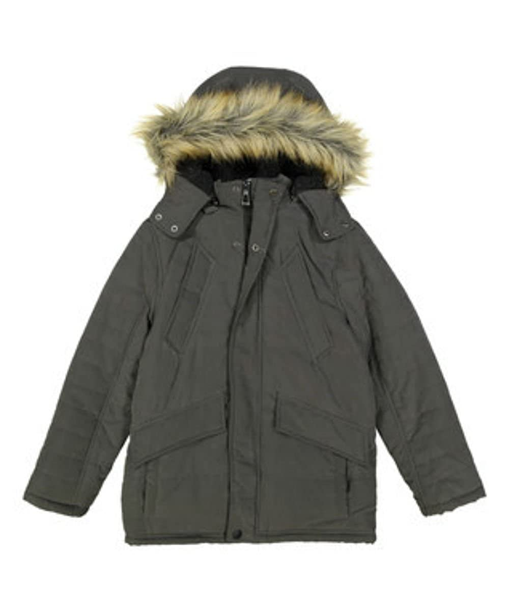 UR Microfiber Jacket With Full Sherpa And Fur Trimmed Hood,charcoal grey 5//6