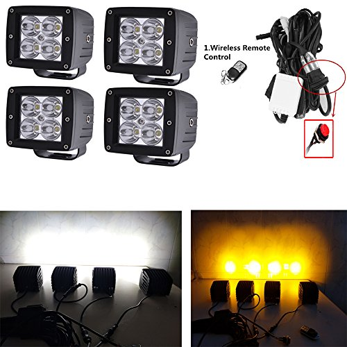 Night Break Light 24w White Amber Alternate/Sync Flash Led Pods 50 Different Flashing Modes Amber Strobe Led Fog Lights for Truck offroad 3 x 4 race ATV Jeep Free Wire Harness(Pack of 4)