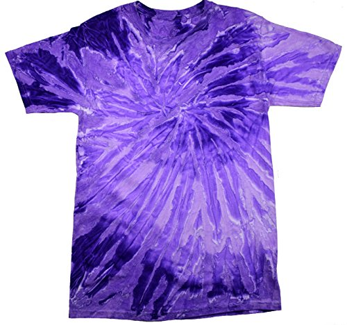 Colortone Tie Dye T-Shirt 14-16 (LG) Spiral Purple