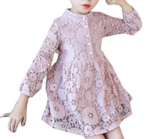 Abetteric Kids Lace Long Sleeve Pure Color Beaded Party Wedding Dresses Pink 110