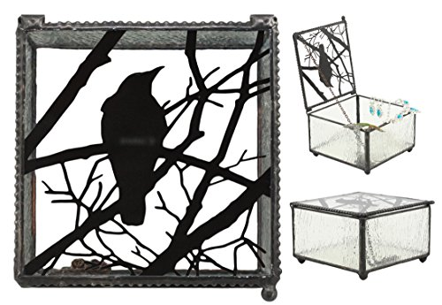 Ebros Gothic Silhouette Raven Glass Jewelry Box 4