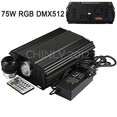 DMX 75W RGB LED Fiber Optic Engine Driver+28key RF Remote controller for all kinds fiber optics