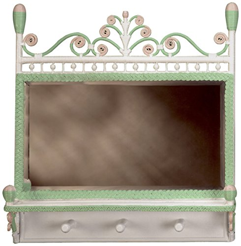 Spice Islands Victorian Coat Rack Mirror, Green/Pink